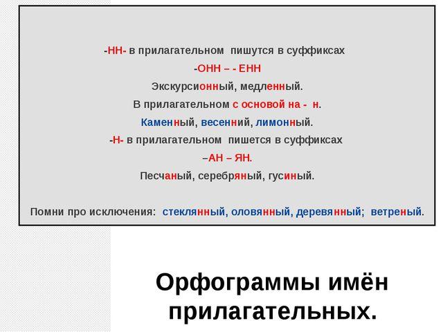 Орфограммы имён прилагательных. -НН- в прилагательном пишутся в суффиксах -ОН...