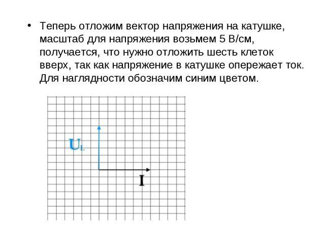 Теперь отложим вектор напряжения на катушке, масштаб для напряжения возьмем 5...