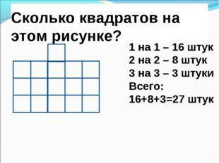 Сколько квадратов на этом рисунке? 1 на 1 – 16 штук 2 на 2 – 8 штук 3 на 3 –