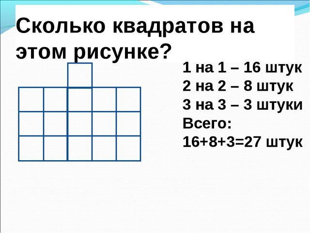 Сколько квадратов на этом рисунке? 1 на 1 – 16 штук 2 на 2 – 8 штук 3 на 3 –...