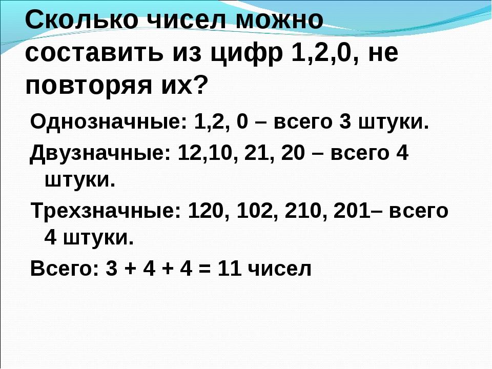 Сколько чисел можно составить из цифр 1,2,0, не повторяя их? Однозначные: 1,2...