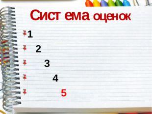 Система оценок 1 2 3 4 5