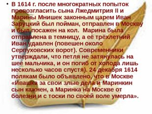 В 1614 г. после многократных попыток провозгласить сына Лжедмитрия II и Марин