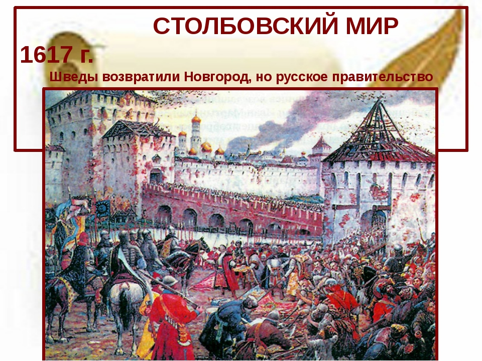 CТОЛБОВСКИЙ МИР 1617 г. Шведы возвратили Новгород, но русское правительство...