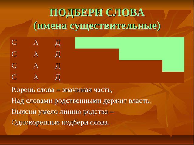 ПОДБЕРИ СЛОВА (имена существительные) Корень слова – значимая часть, Над слов...