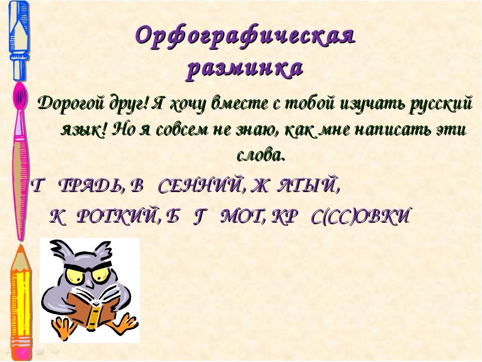 Орфографическая разминка Дорогой друг! Я хочу вместе с тобой изучать русский...