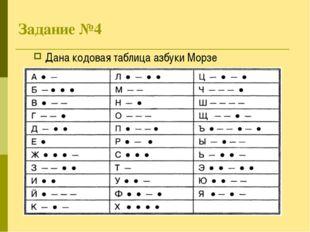 Задание №4 Дана кодовая таблица азбуки Морзе
