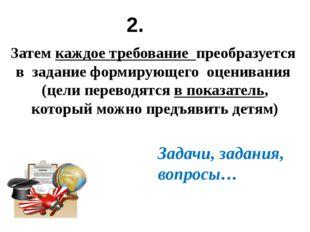 Затем каждое требование преобразуется в задание формирующего оценивания (цели