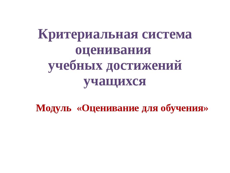 Критериальная система оценивания учебных достижений учащихся Модуль «Оцениван...