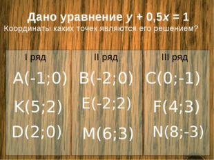 Дано уравнение y + 0,5x = 1 Координаты каких точек являются его решением? A(-