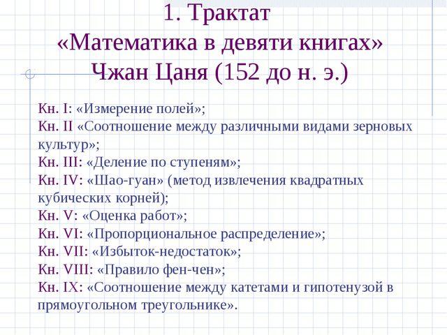 1. Трактат «Математика в девяти книгах» Чжан Цаня (152 до н.э.) Кн. I: «Изме...