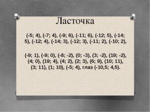 Ласточка (-5; 4), (-7; 4), (-9; 6), (-11; 6), (-12; 5), (-14; 5), (-12; 4), (