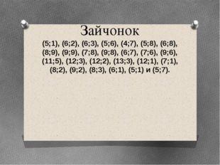 Зайчонок (5;1), (6;2), (6;3), (5;6), (4;7), (5;8), (6;8), (8;9), (9;9), (7;8)
