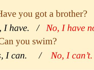 1. Have you got a brother? Yes, I have. / No, I have not. 2. Can you swim? Y
