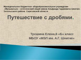 Трошина Елена,6 «Б» класс МБОУ «МЭЛ им. А.Г. Шнитке» Муниципальное бюджетное