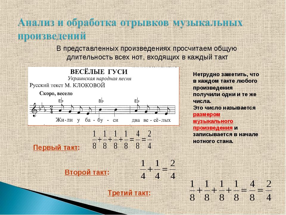 В представленных произведениях просчитаем общую длительность всех нот, входящ...