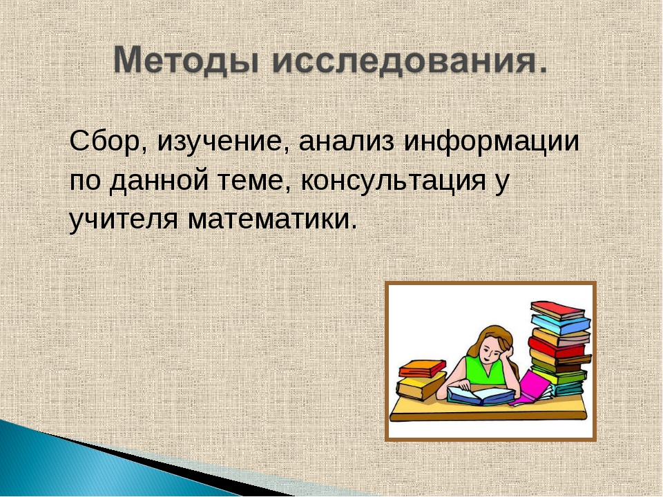 Сбор, изучение, анализ информации по данной теме, консультация у учителя мате...
