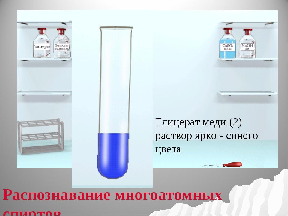 Глицерат меди (2) раствор ярко - синего цвета Распознавание многоатомных спи...