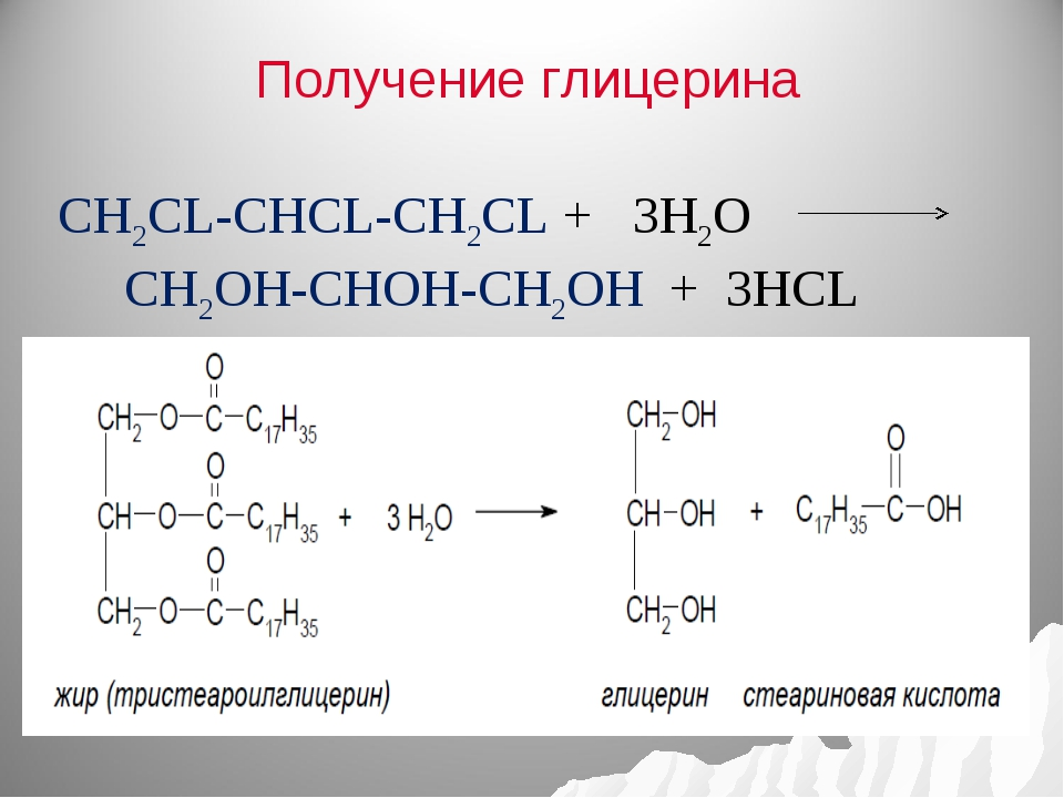 Получение глицерина CH2CL-CHCL-CH2CL + 3H2O CH2OH-CHOH-CH2OH + 3HCL