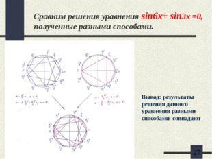 Сравним решения уравнения sin6x+ sin3x =0, полученные разными способами. Выво