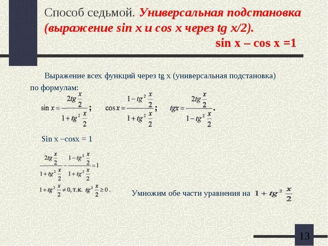 Способ седьмой. Универсальная подстановка (выражение sin x и cos x через tg x...