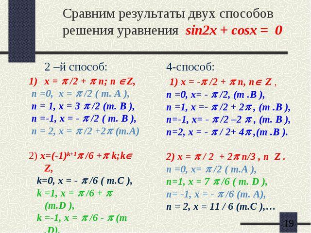 Сравним результаты двух способов решения уравнения sin2x + cosx = 0 2 –й спос...