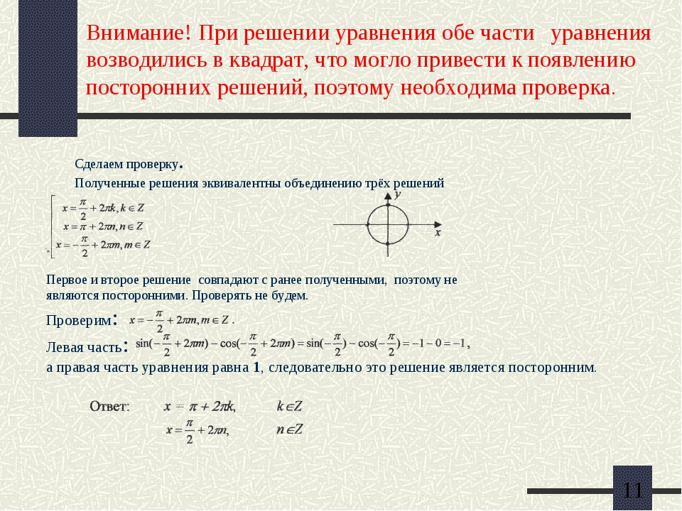 Внимание! При решении уравнения обе части уравнения возводились в квадрат, чт...