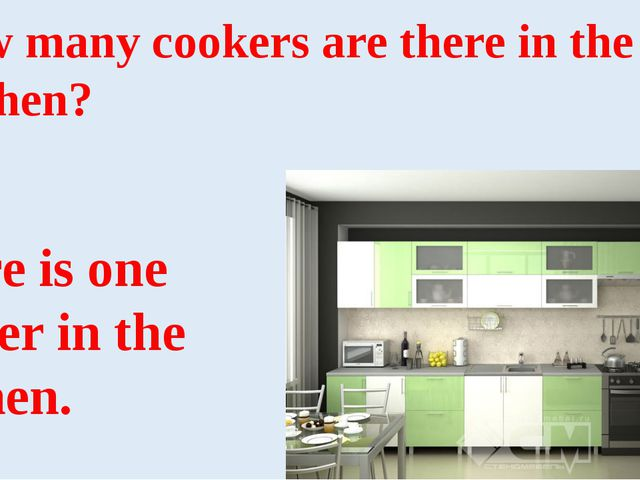 How many cookers are there in the kitchen? There is one cooker in the kitchen.