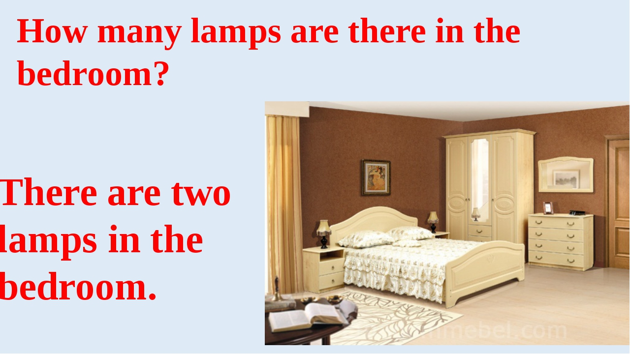 How many lamps are there in the bedroom? There are two lamps in the bedroom.