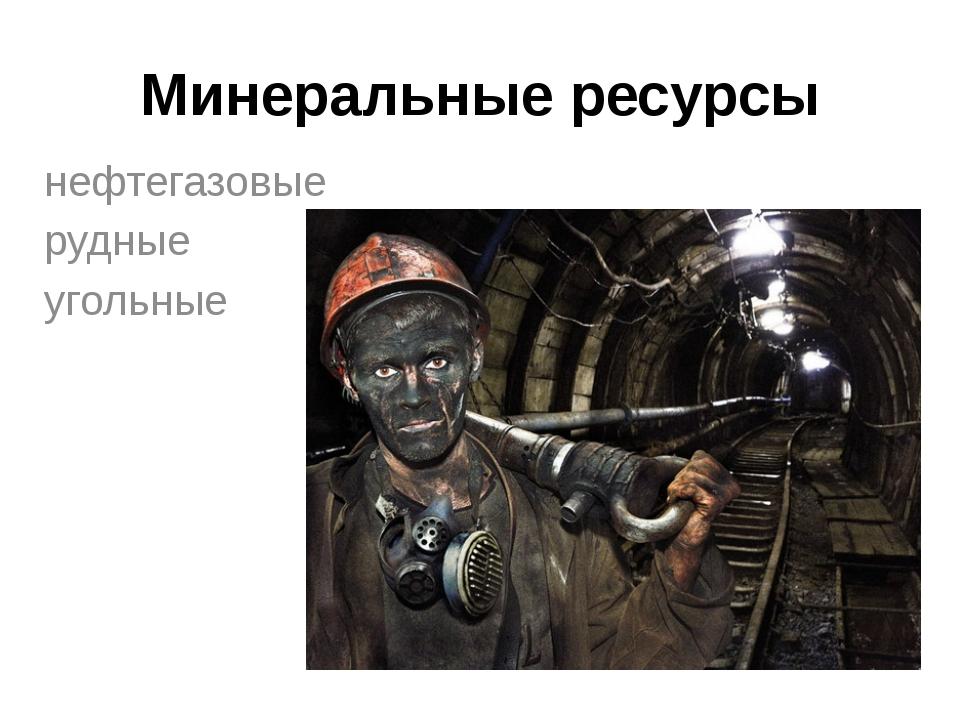 Минеральные ресурсы нефтегазовые рудные угольные