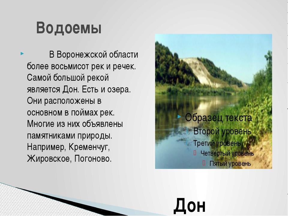 В Воронежской области более восьмисот рек и речек. Самой большой ре...