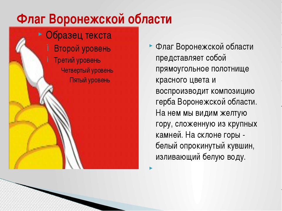 Флаг Воронежской области представляет собой прямоугольное полотнище красного...