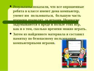 Результаты показали, что все опрошенные ребята в классе имеют дома компьютер