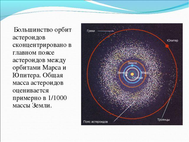 Большинство орбит астероидов сконцентрировано в главном поясе астероидов меж...