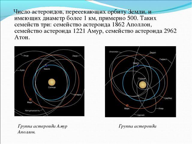 Число астероидов, пересекающих орбиту Земли, и имеющих диаметр более 1 км, п...