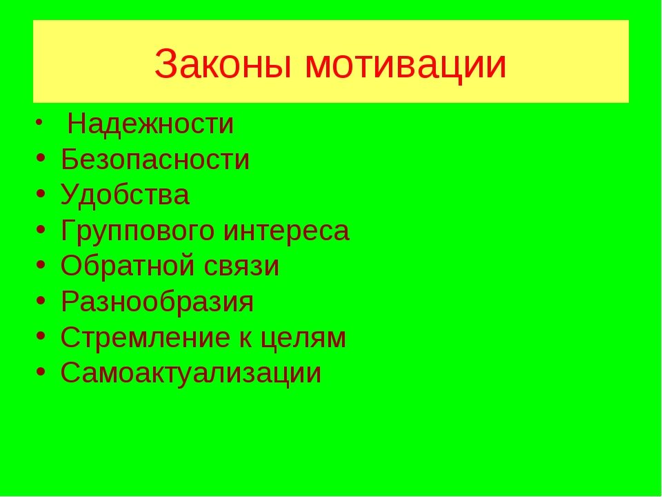 Законы мотивации Надежности Безопасности Удобства Группового интереса Обратно...
