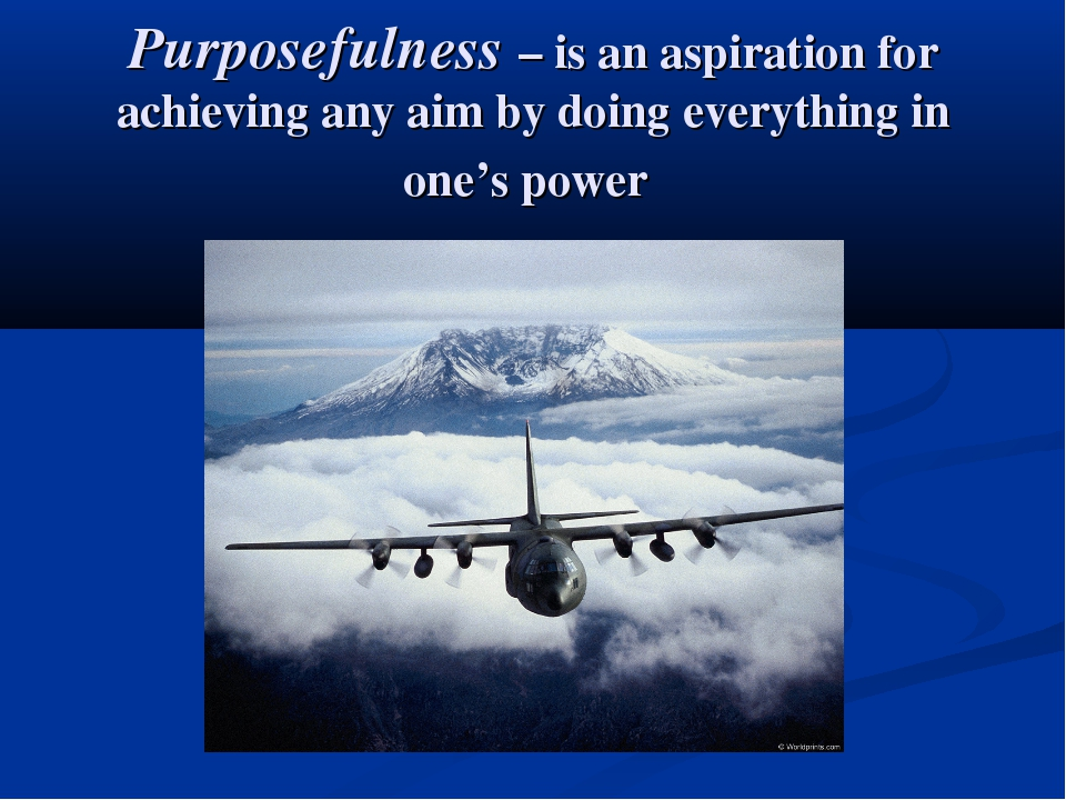 Purposefulness – is an aspiration for achieving any aim by doing everything i...