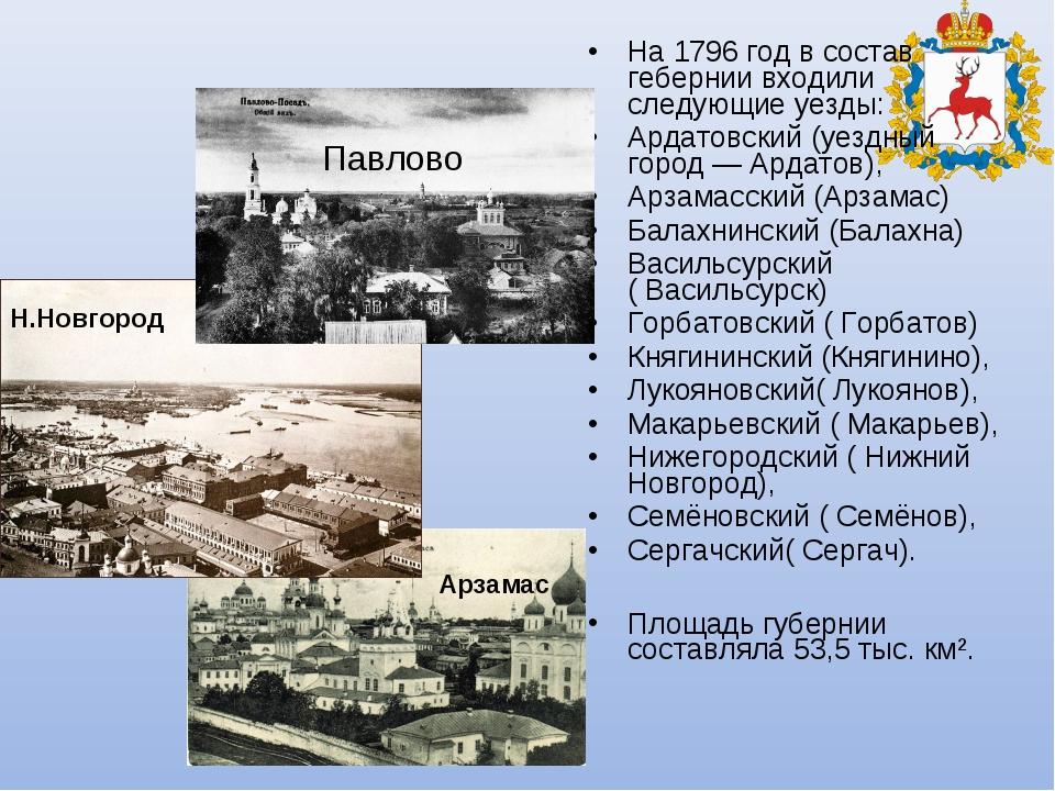 На 1796 год в состав гебернии входили следующиеуезды: Ардатовский(уездный г...