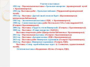 Участие в выставках: 1991 год – Персональная выставка «Уральские акварели» (к