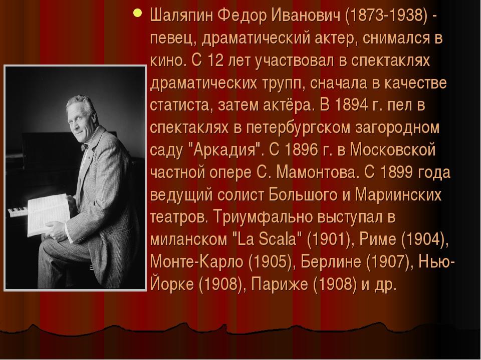 Шаляпин Федор Иванович (1873-1938) - певец, драматический актер, снимался в к...