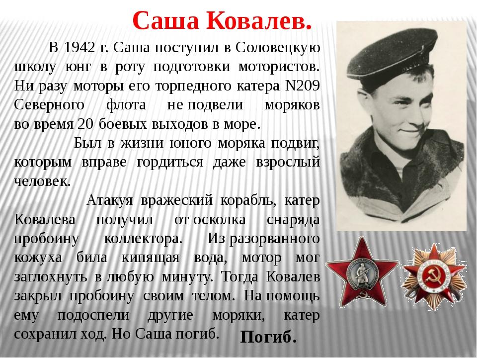 Саша Ковалев. В 1942 г. Саша поступил в Соловецкую школу юнг в роту подготовк...