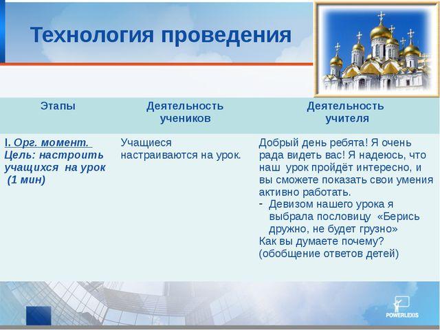 Технология проведения Этапы Деятельность учеников Деятельность учителя I.Орг...
