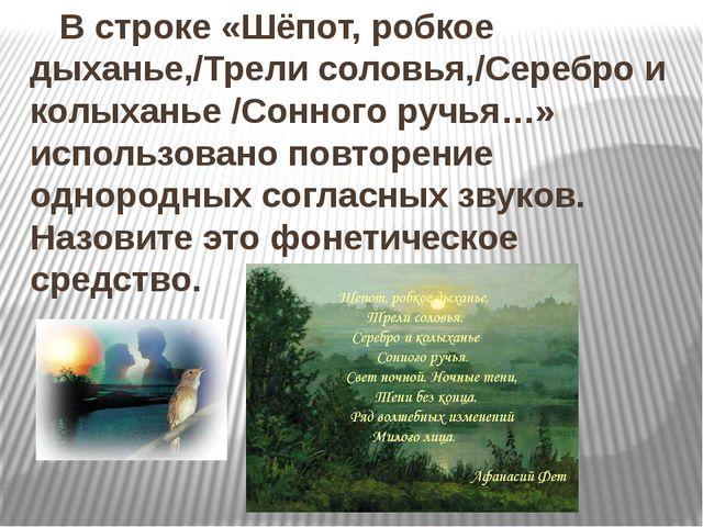 В строке «Шёпот, робкое дыханье,/Трели соловья,/Серебро и колыханье /Сонного...