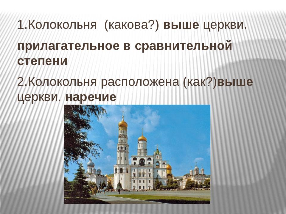 1.Колокольня (какова?) выше церкви. прилагательное в сравнительной степени 2...