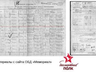 Материалы с сайта ОБД «Мемориал»