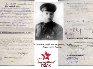 Толстов Василий Никанорович, Герой Советского Союза