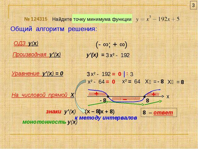 Найдите точку минимума функции № 124315 ОДЗ у(х) Производная у'(х) Уравнение...