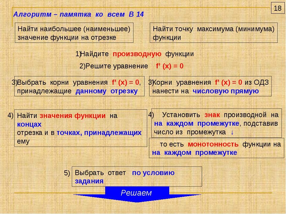 Найти наибольшее (наименьшее) значение функции на отрезке Найти точку максиму...