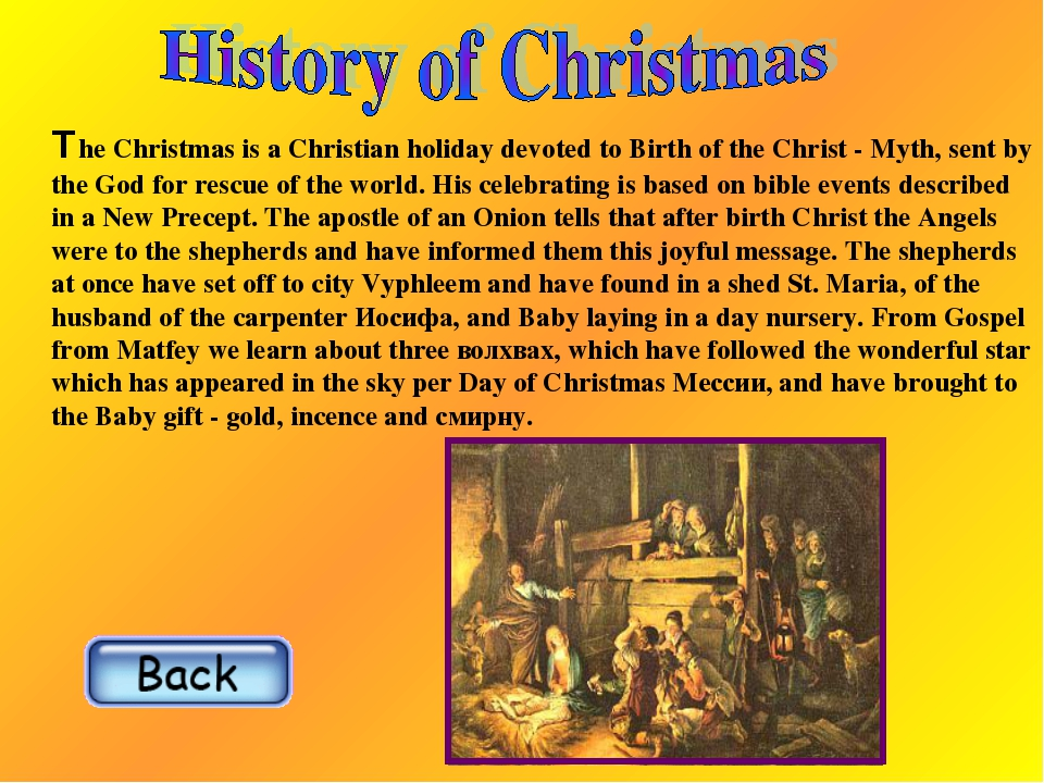The Christmas is a Christian holiday devoted to Birth of the Christ - Myth, s...