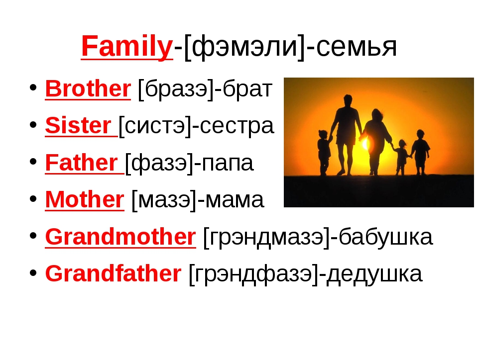 Family-[фэмэли]-семья Brother [бразэ]-брат Sister [систэ]-сестра Father [фазэ...